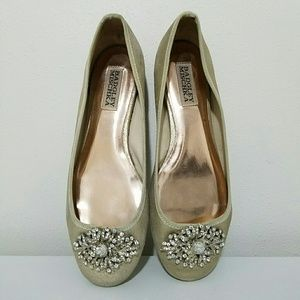 BADGLEY MISCHKA Gold Embellished Flats Size 6